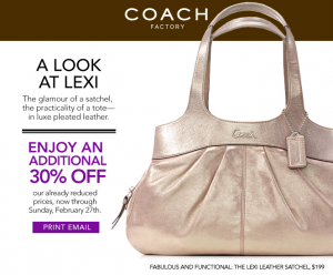 Coach Factory Store: 30% Off Printable Coupon
