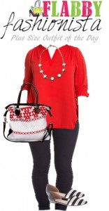 Plus Size Outfit of the Day – Red, Black & White
