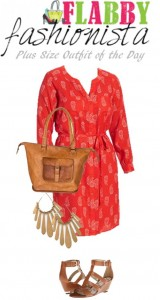 Plus Size Outfit of the Day – Red Paisley and Gold