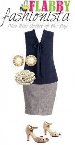 Plus Size Outfit of the Day – Elegant Navy & Pearls