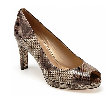 Stuart Weitzman Logostatus Snakeskin-Embossed Leather Pump