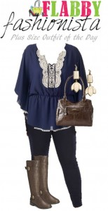 Plus Size Outfit of the Day – Navy and Lace