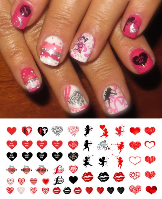 valentine's Day nail decals