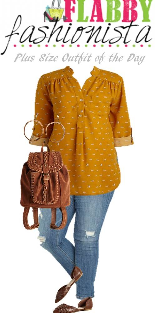 Plus Size Outfit of the Day – Mustard Top