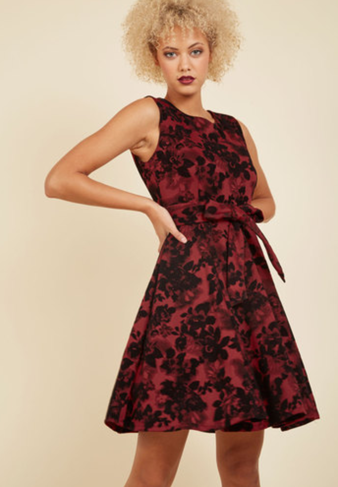 Girl Meets Twirl Dress in Crimson Bloom
