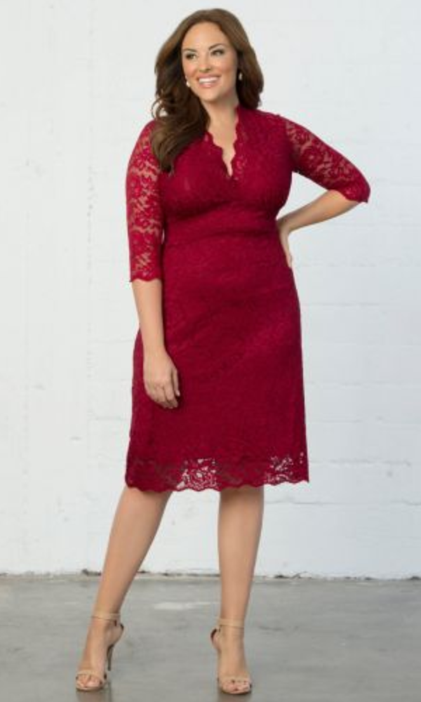 Scalloped Boudoir Plus Size Lace Dress