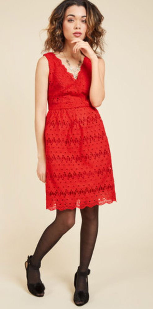 Stately Satisfaction Lace Plus Size Red Dress