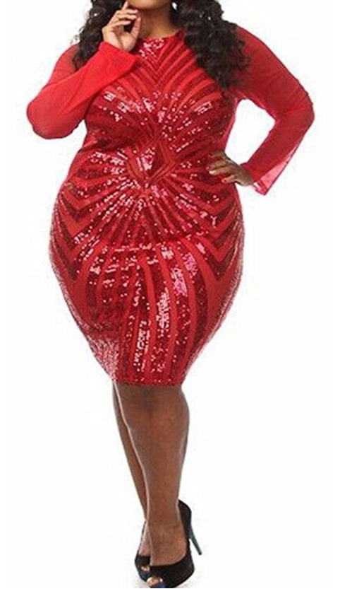 VIVOSKY Plus-Size Dress Diamond Pattern Gauze Sequined Cocktail Dress