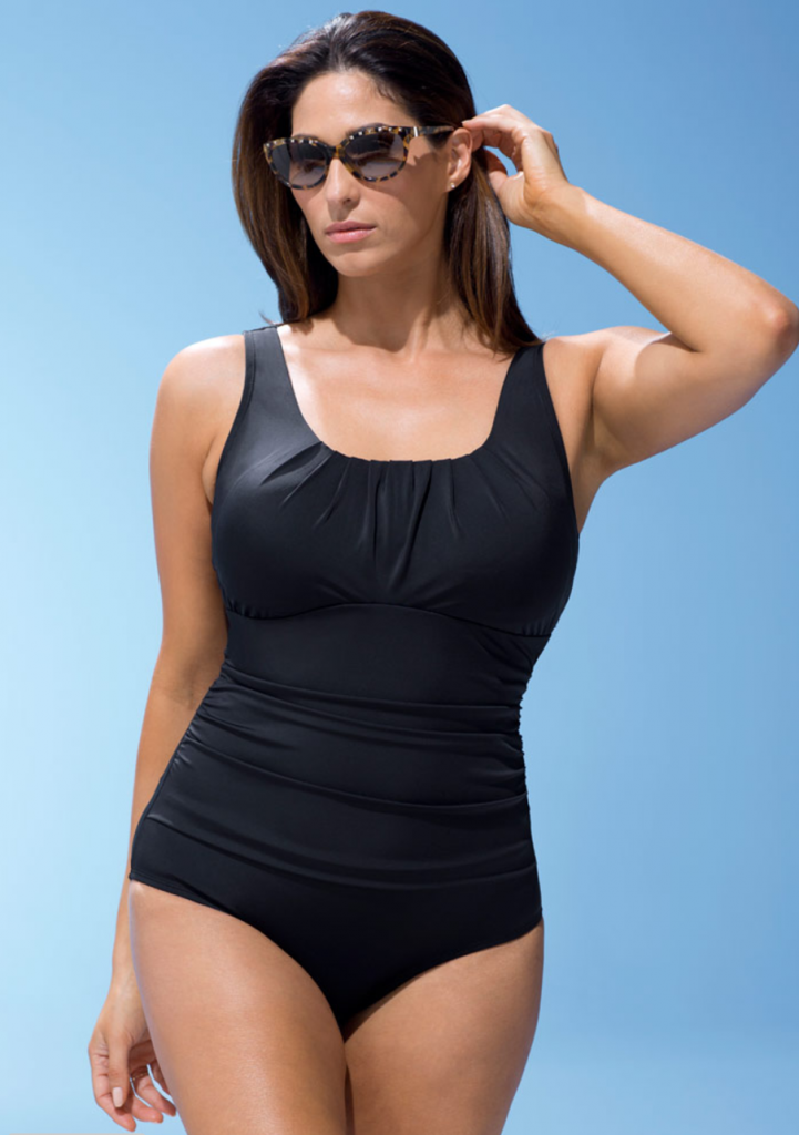 Black Pleated Plus Size Tank Suit