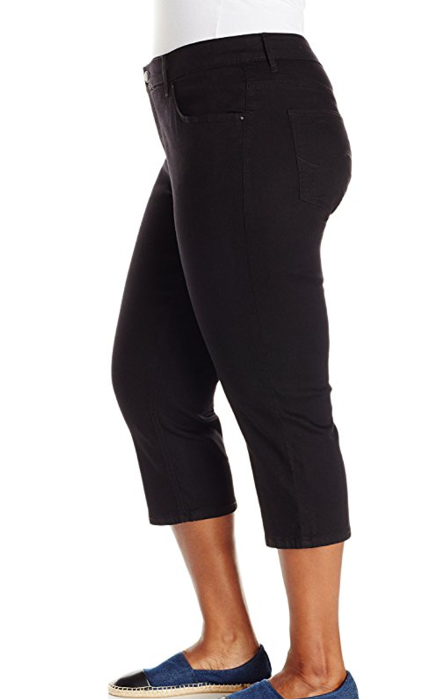 Plus Size Easy Fit Black Denim Capris