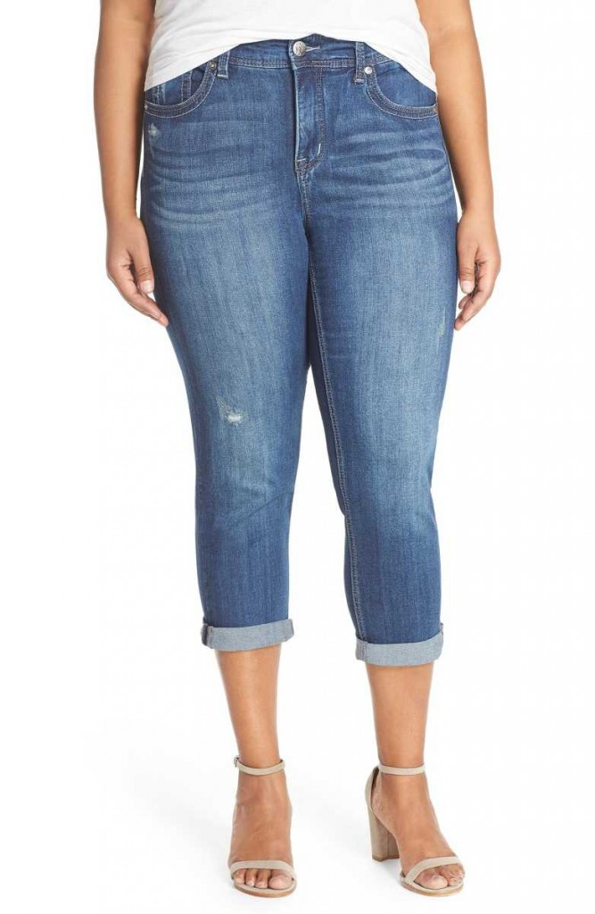 plus size stretch crop jeans