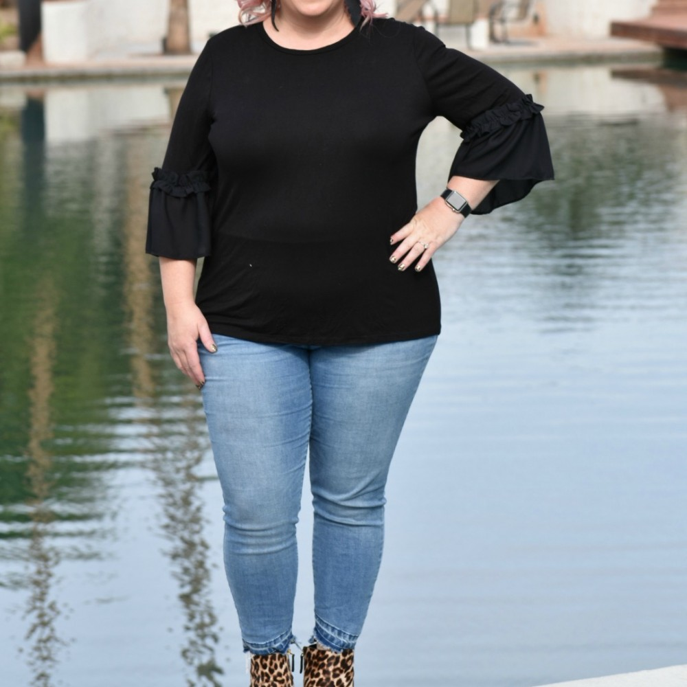 OOTD: Plus Size Bell Sleeve Top, Rockstar Jeggings, & Leopard Booties