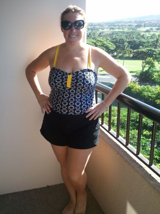 Lime Ricki Black and Yellow One Piece with Ann Taylor Loft Shorts
