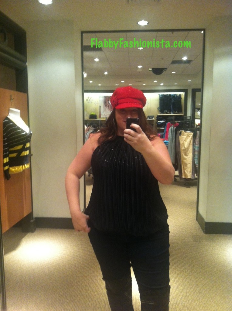 Lane Bryant Holiday outfit with red hat