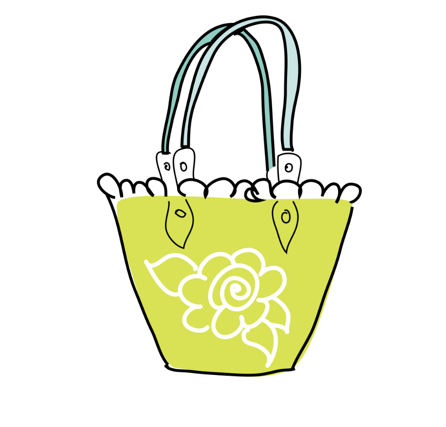 Lime Green Purse with white flower