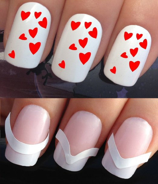 red heart decals plus nail guides
