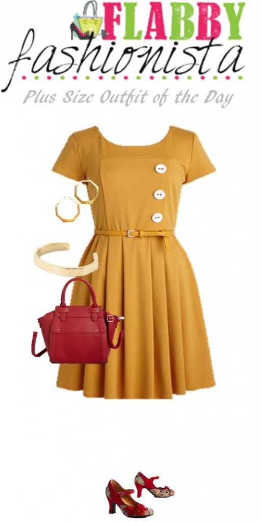 Plus Size Fashion Outfit of the Day: Vintage Dress with Gorgeous Accessories
