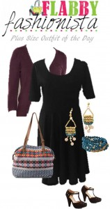 Plus Size Black Dress With Cardigan