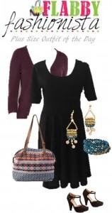 Plus Size Black Dress With Cardigan