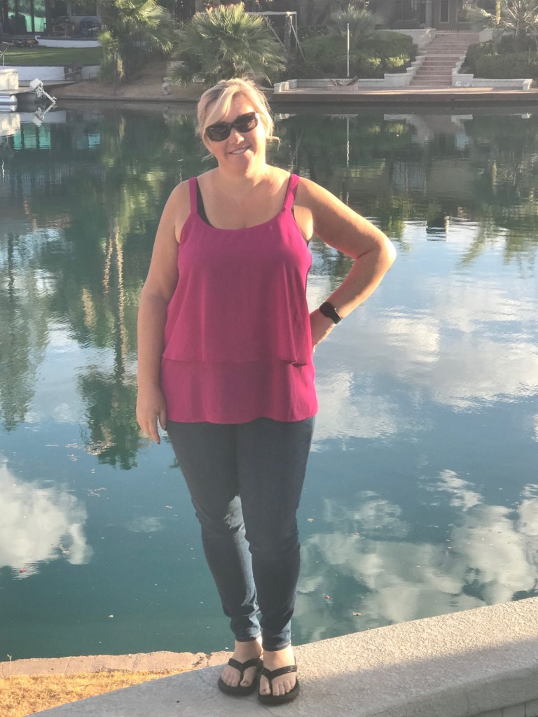 STitch Fix Jeans with Hot Pink Tank