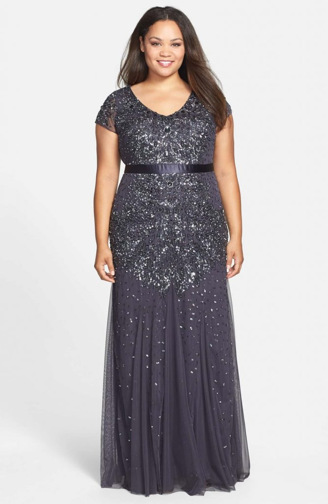 4bf68d49477 Plus Size Formal Dresses. Sparkle and shimmer the night away in a  sophisticated gown with a fitted cap-sleeve bodice and gracefully flared  skirt.